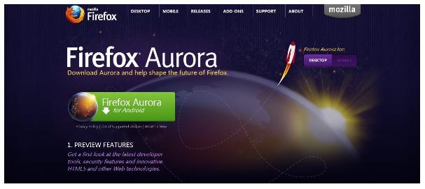 Android 平台最新 Firefox Aurora 测试版来临