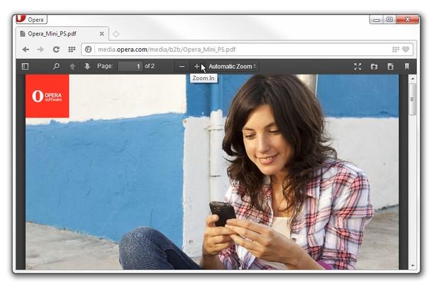 Opera即将原生支持PDF阅读器