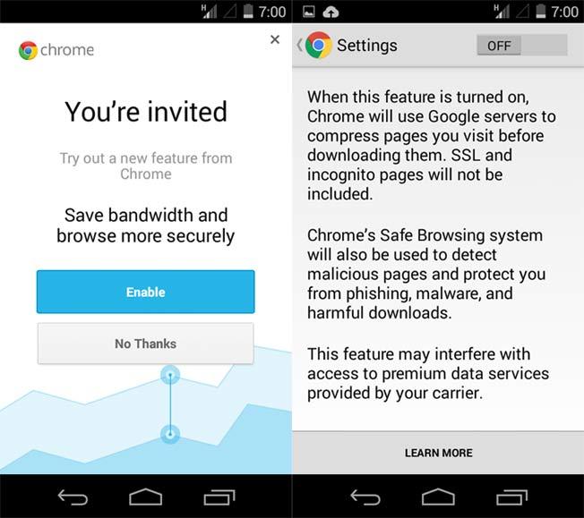 Android One版Chrome浏览器:数据压缩+安全浏览