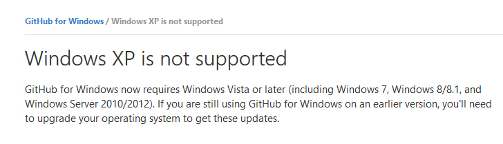 Github将于1月5日停止支持XP系统的IE浏览器
